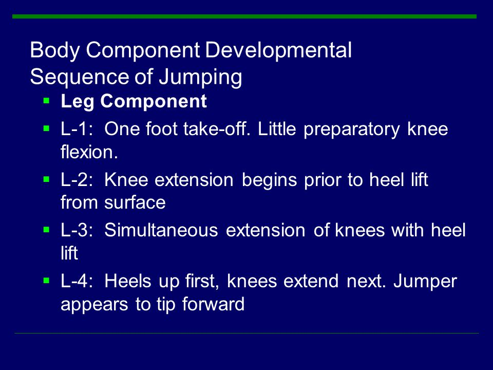 Body Component Developmental Sequence of Jumping