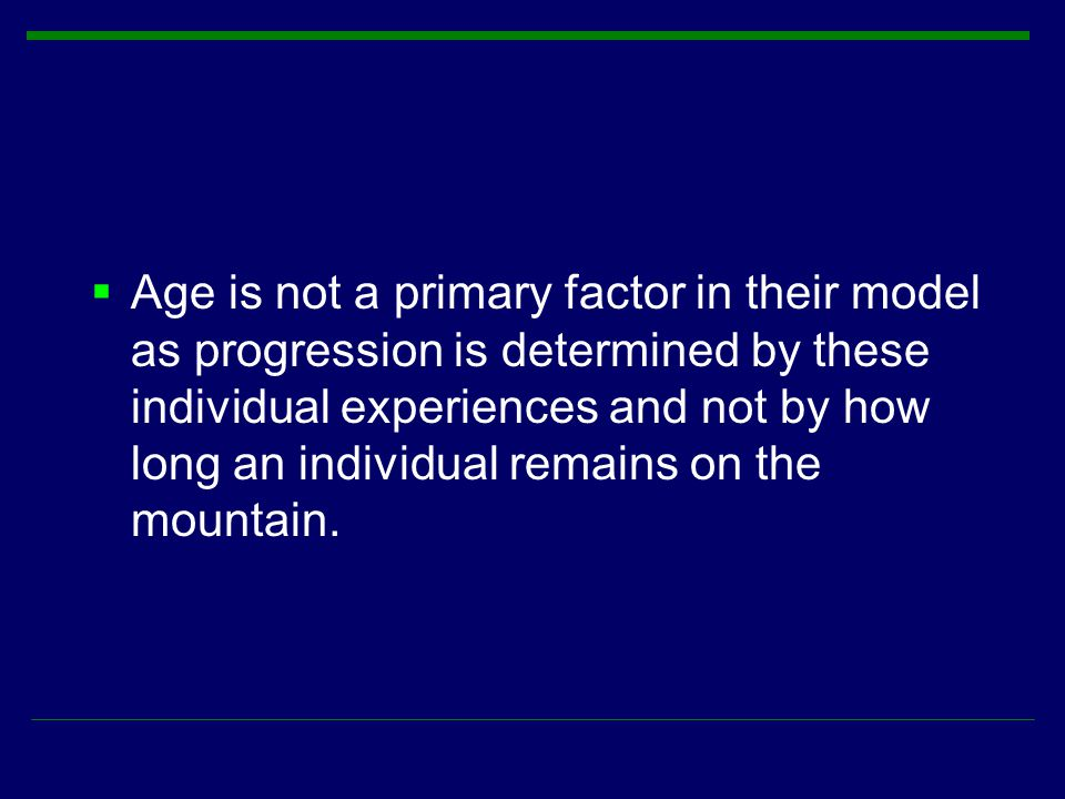 Age is not a primary factor in their model as progression is determined by these individual experiences and not by how long an individual remains on the mountain.