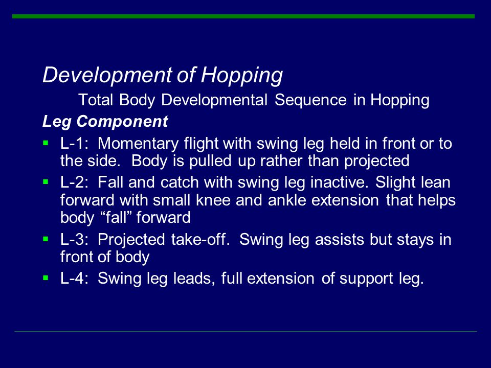 Total Body Developmental Sequence in Hopping