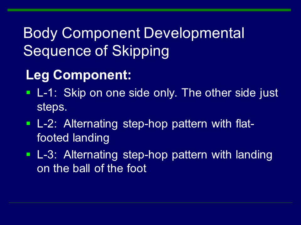 Body Component Developmental Sequence of Skipping