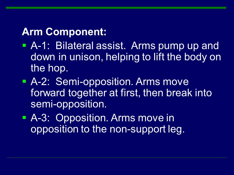 Arm Component: A-1: Bilateral assist. Arms pump up and down in unison, helping to lift the body on the hop.