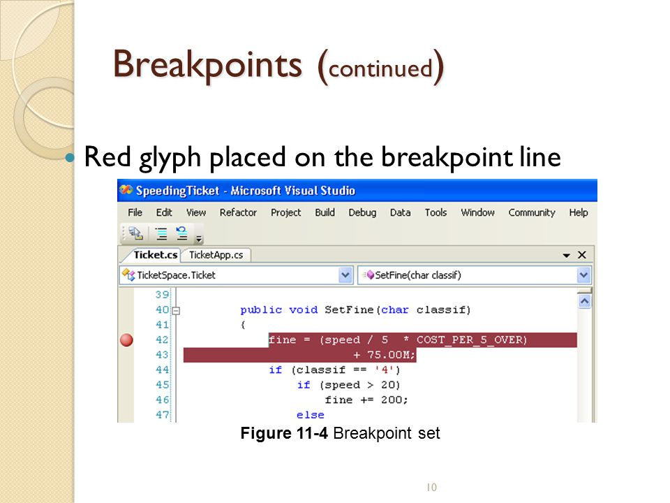 Breakpoints (continued)