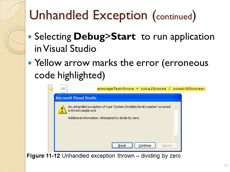 Unhandled Exception (continued)