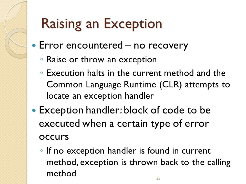 Raising an Exception Error encountered – no recovery