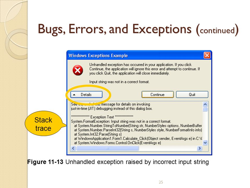 Bugs, Errors, and Exceptions (continued)