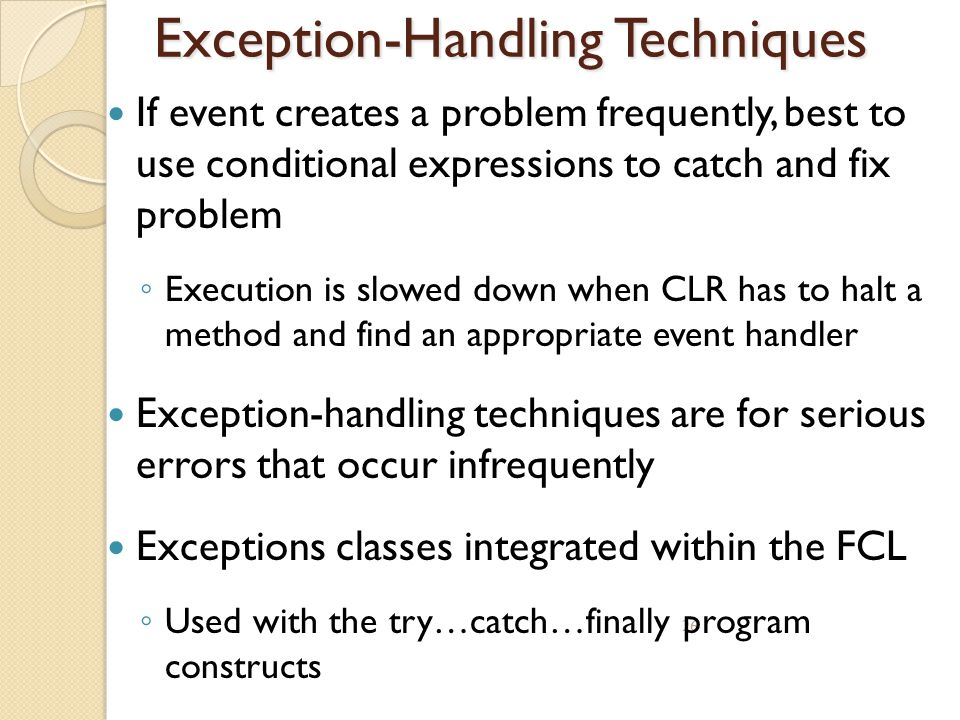 Exception-Handling Techniques