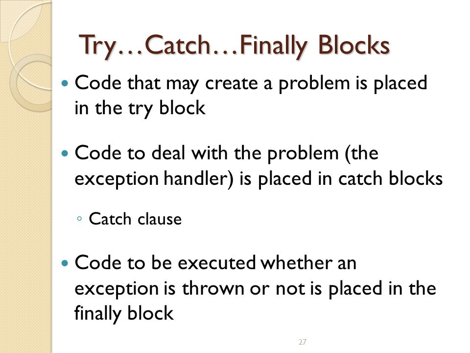Try…Catch…Finally Blocks