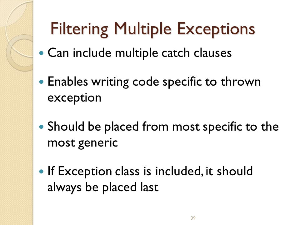Filtering Multiple Exceptions