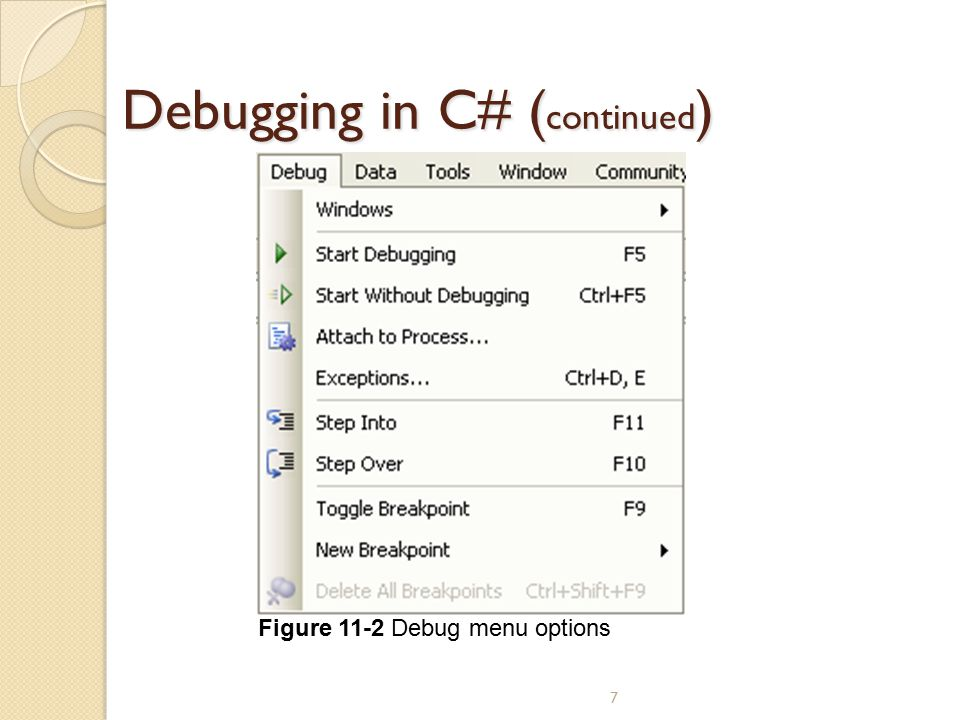 Debugging in C# (continued)