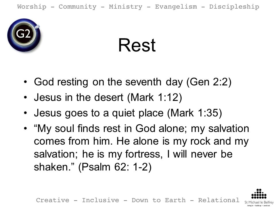Rest God resting on the seventh day (Gen 2:2)