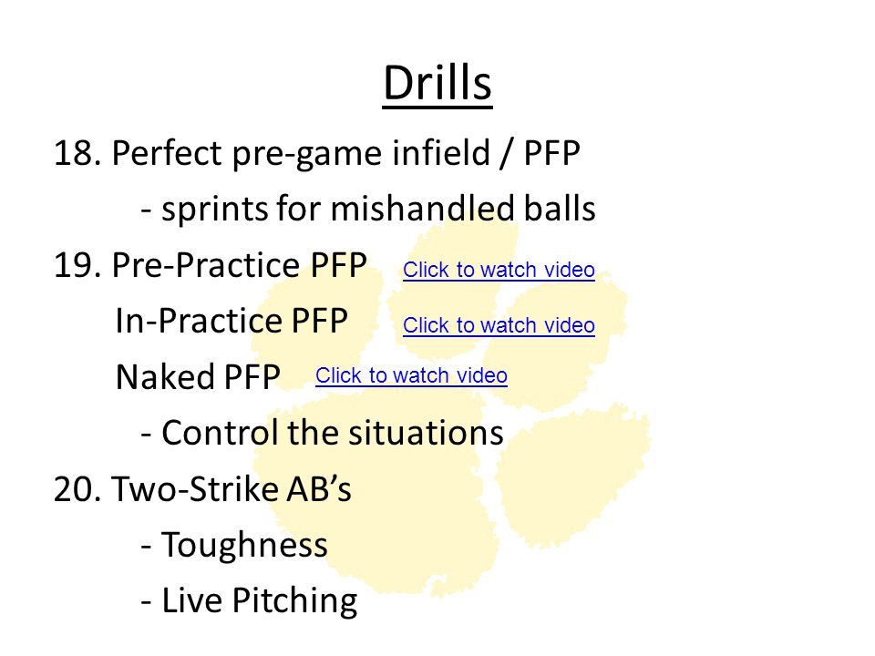 Drills 18. Perfect pre-game infield / PFP