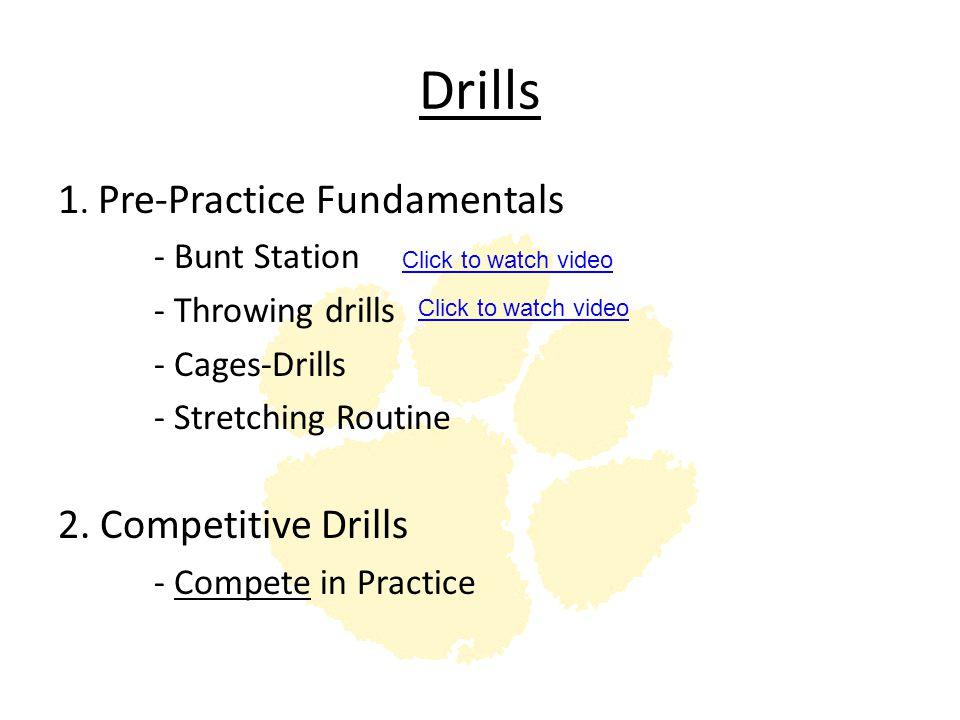 Drills 1. Pre-Practice Fundamentals 2. Competitive Drills