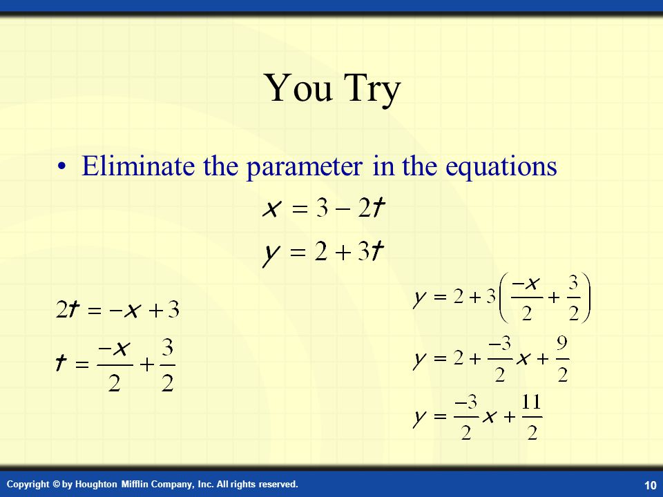 You Try Eliminate the parameter in the equations