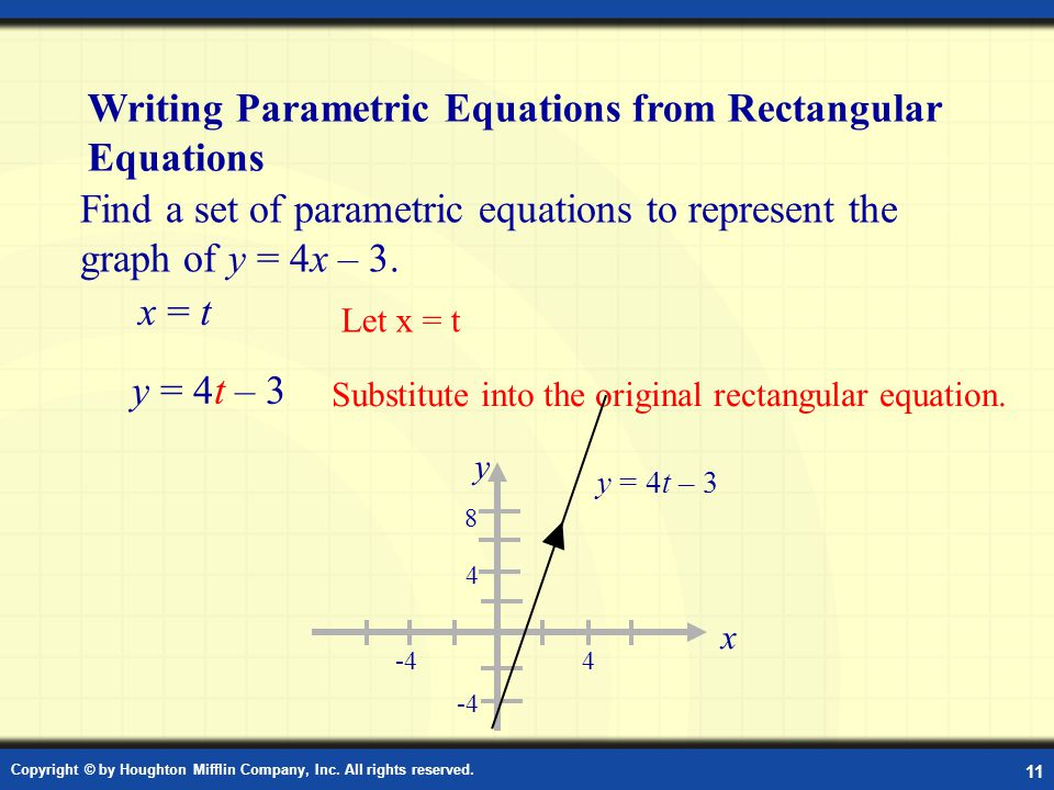 Example: Finding Parametric Equations