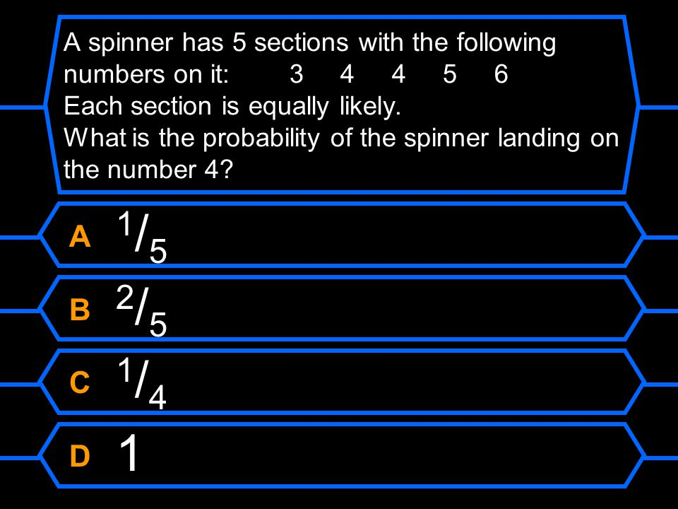 A spinner has 5 sections with the following numbers on it: 3 4 4 5 6 Each section is equally likely. What is the probability of the spinner landing on the number 4