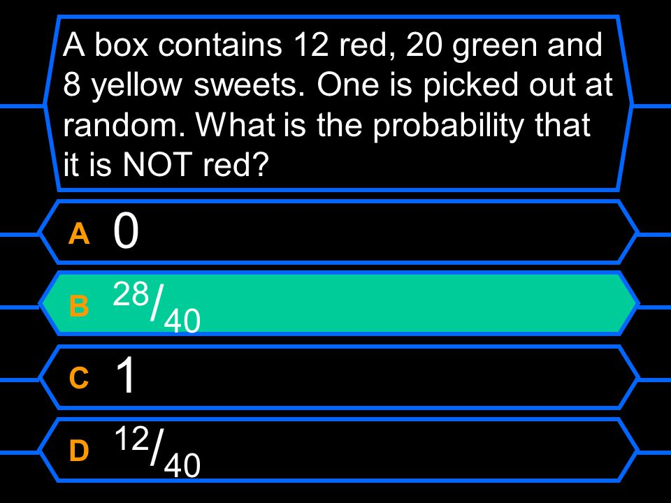 A box contains 12 red, 20 green and 8 yellow sweets