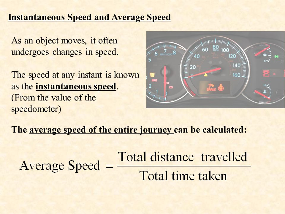 Instantaneous Speed and Average Speed