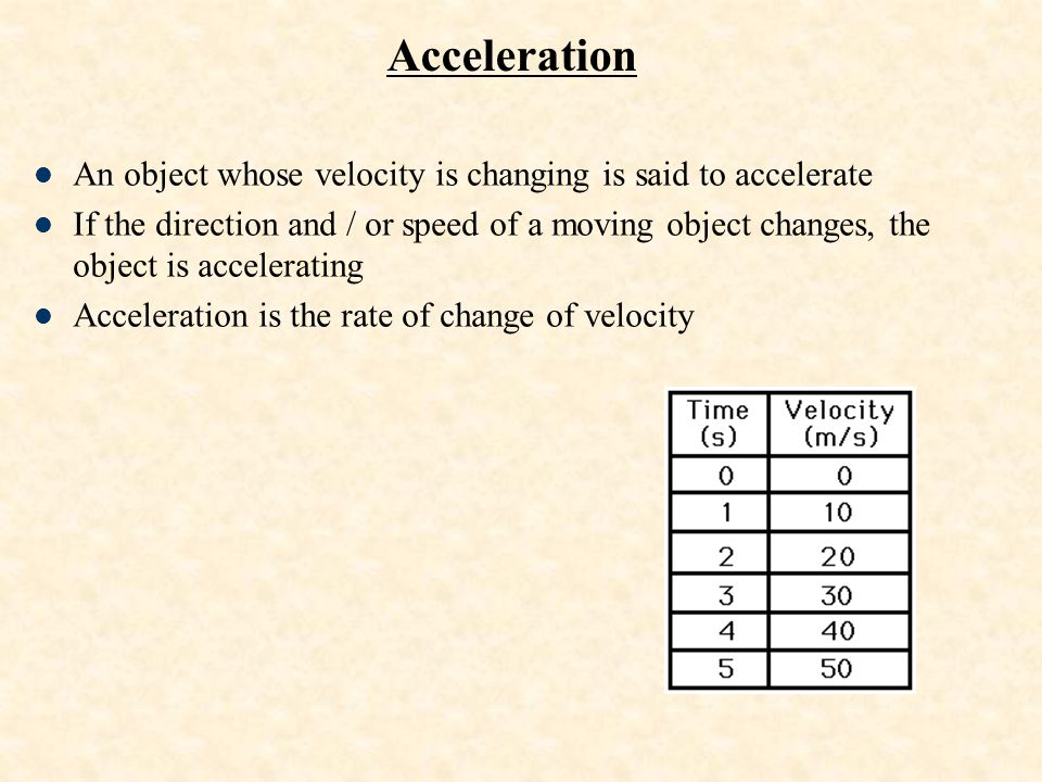 Acceleration An object whose velocity is changing is said to accelerate.