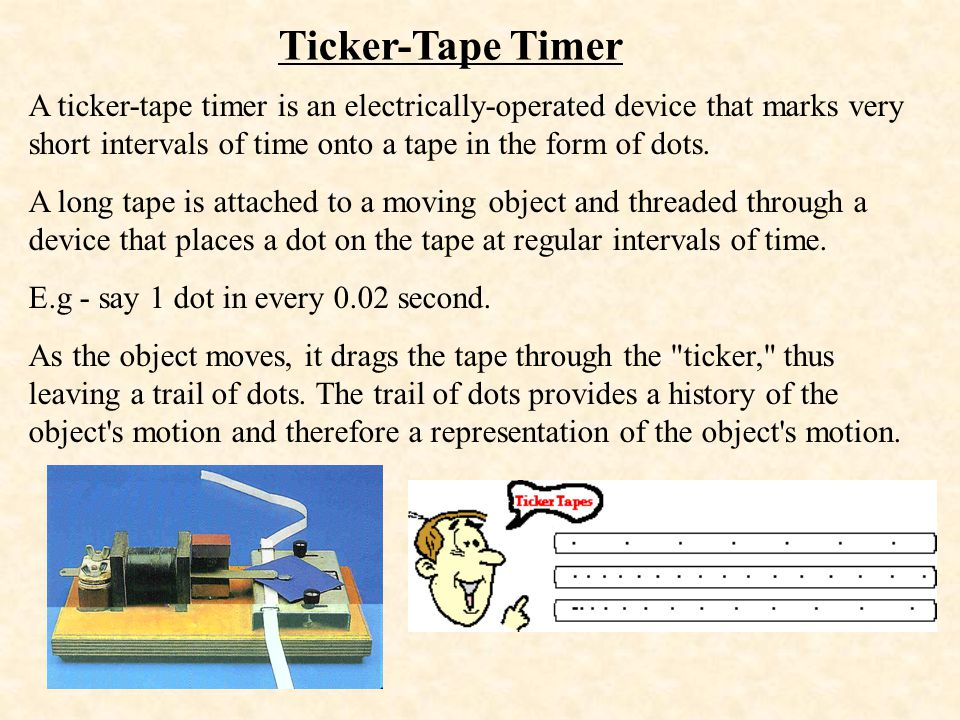 Ticker-Tape Timer A ticker-tape timer is an electrically-operated device that marks very short intervals of time onto a tape in the form of dots.