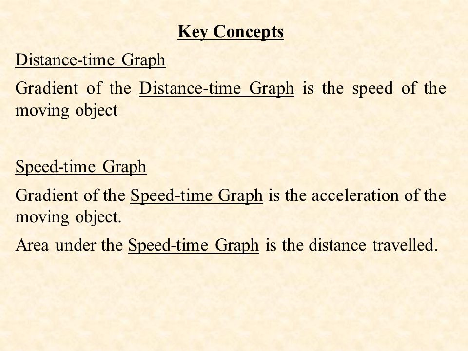 Key Concepts Distance-time Graph. Gradient of the Distance-time Graph is the speed of the moving object.