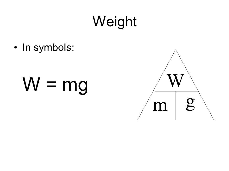 Weight In symbols: W = mg W g m