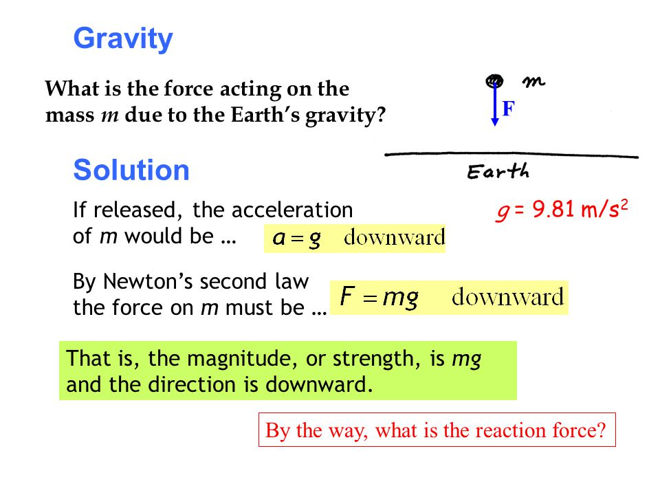 Gravity What is the force acting on the mass m due to the Earth's gravity F. Solution. If released, the acceleration of m would be …