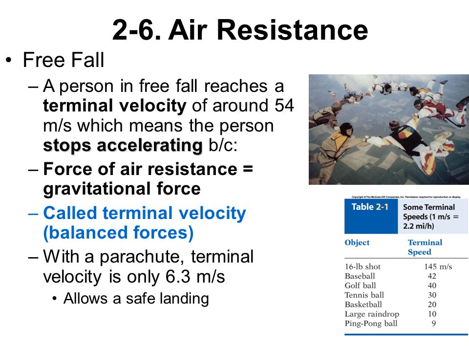 2-6. Air Resistance Free Fall