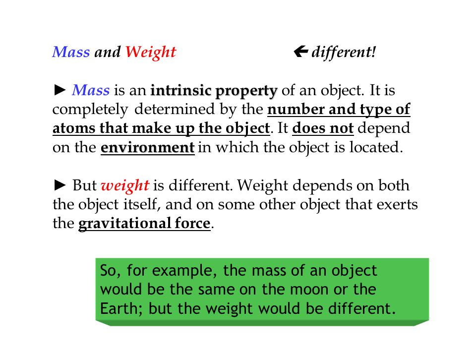 Mass and Weight  different!