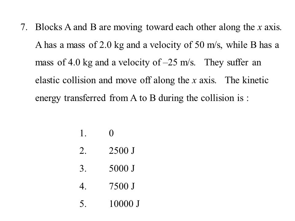 Blocks A and B are moving toward each other along the x axis
