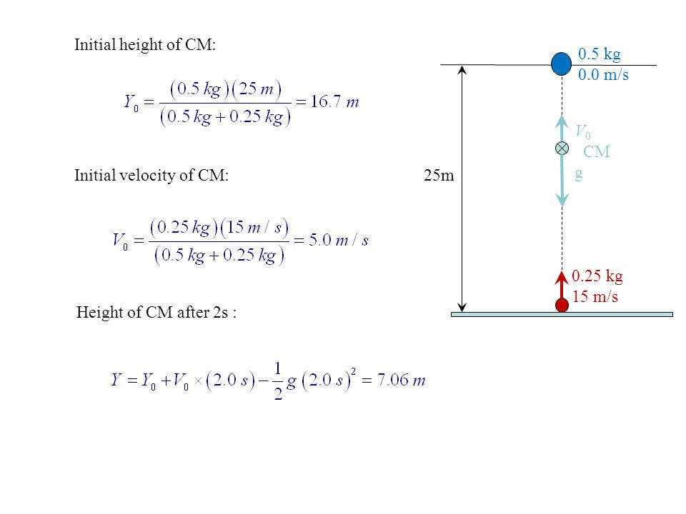 Initial height of CM: 0.5 kg. 0.0 m/s. V0. CM. g. Initial velocity of CM: 25m. 0.25 kg. 15 m/s.