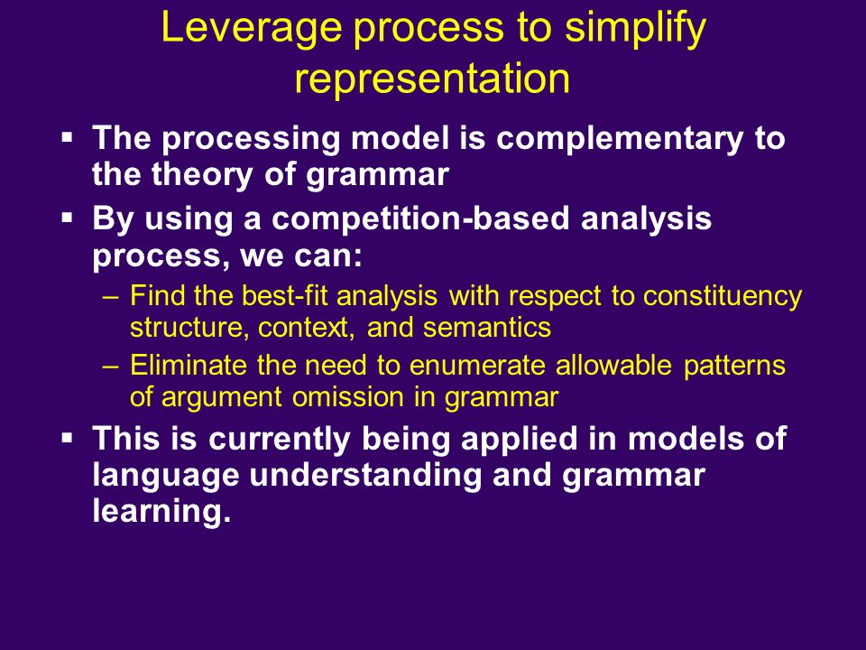 Leverage process to simplify representation