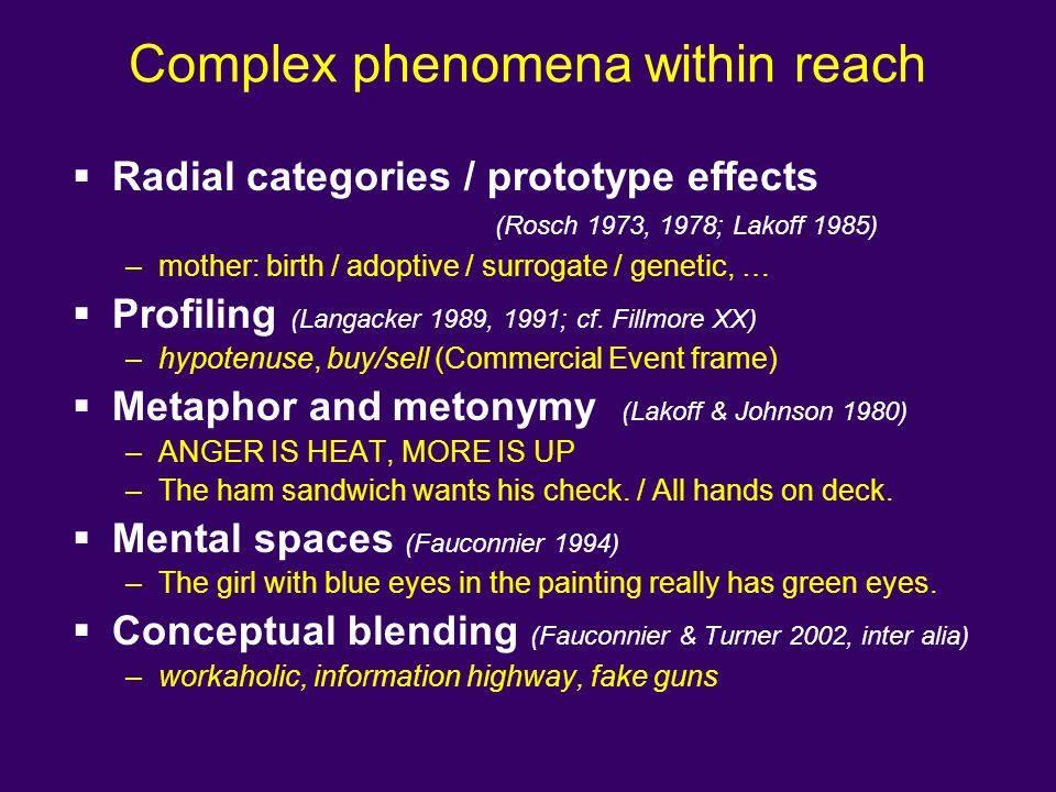 Complex phenomena within reach