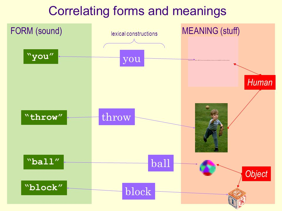 Correlating forms and meanings
