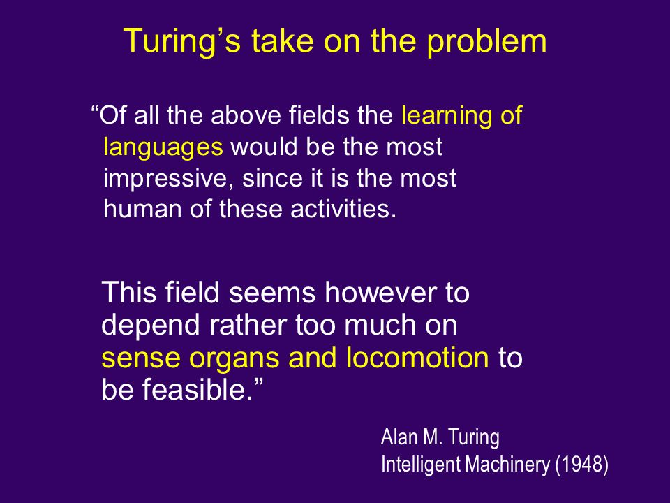 Turing's take on the problem