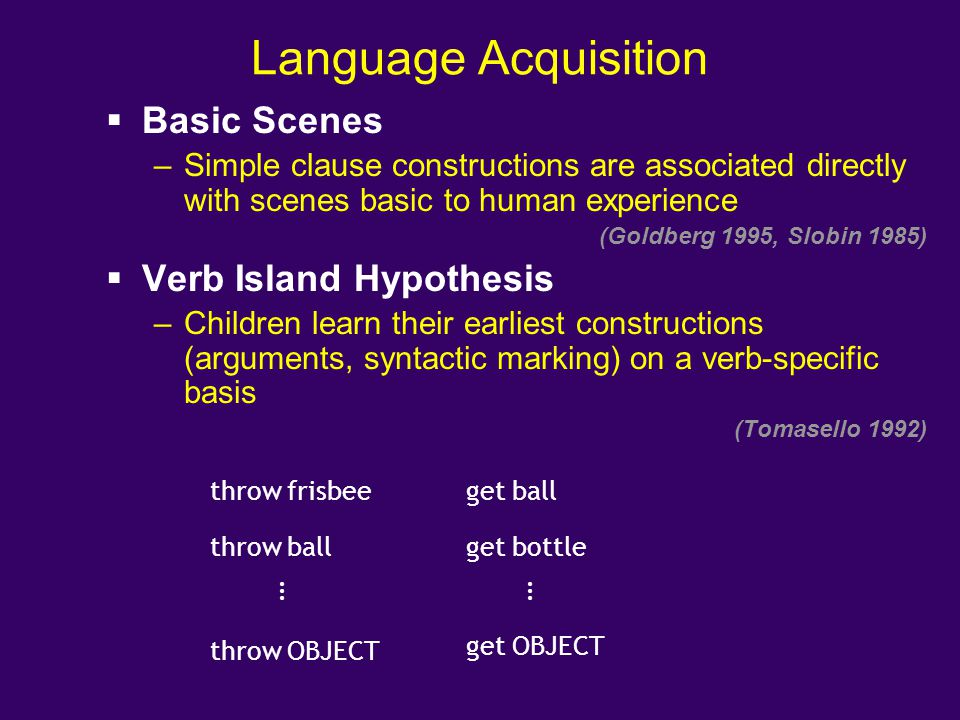 Language Acquisition Basic Scenes Verb Island Hypothesis