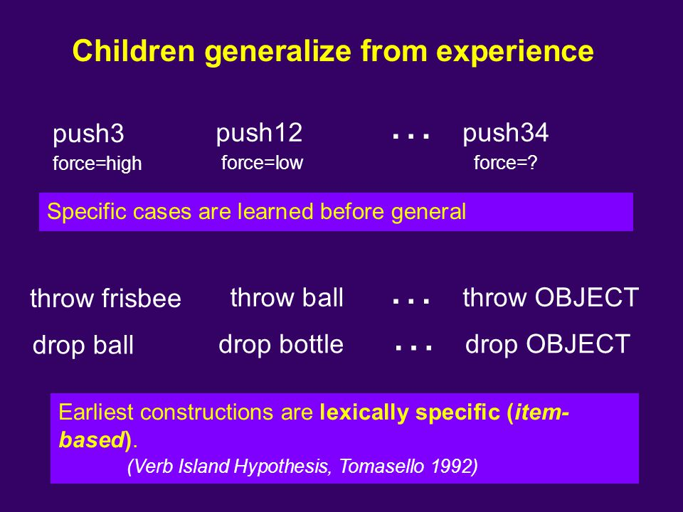 Children generalize from experience