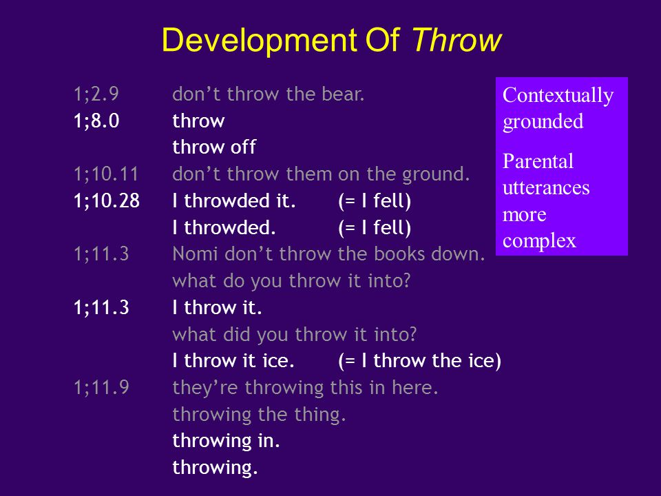Development Of Throw Contextually grounded