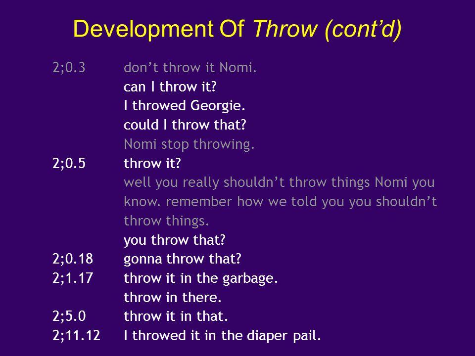 Development Of Throw (cont'd)