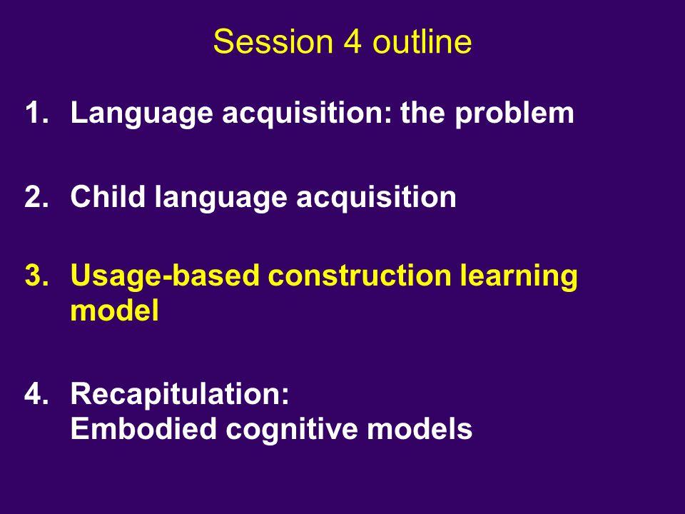 Session 4 outline Language acquisition: the problem