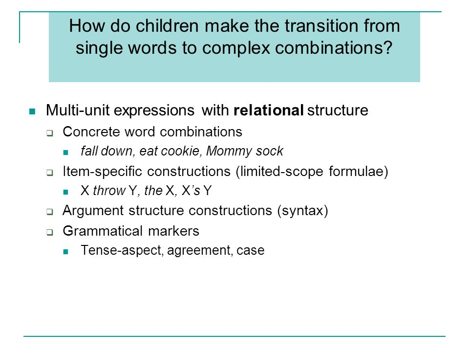 How do children make the transition from single words to complex combinations