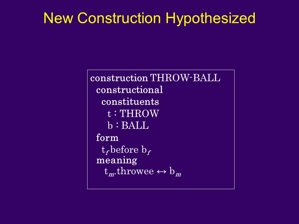 New Construction Hypothesized