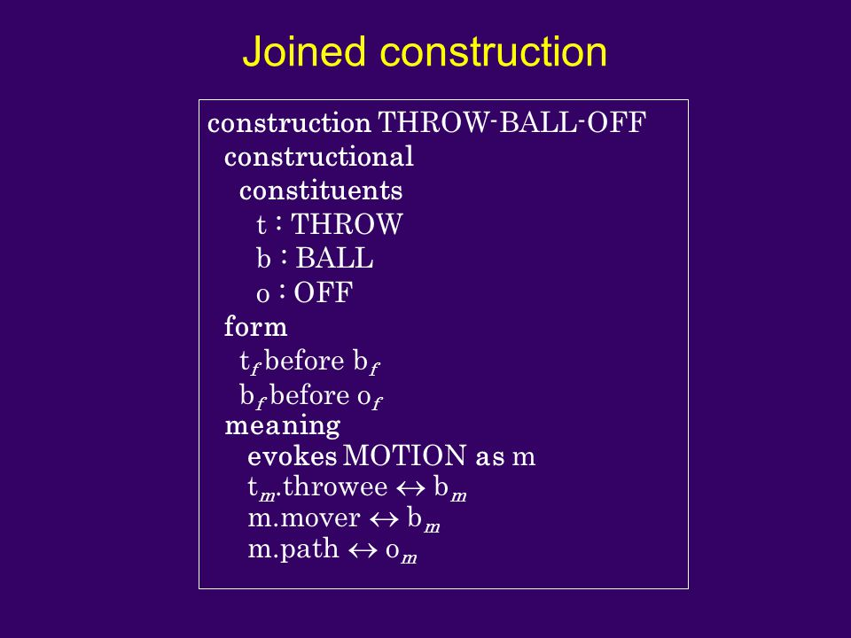 Joined construction construction THROW-BALL-OFF constructional