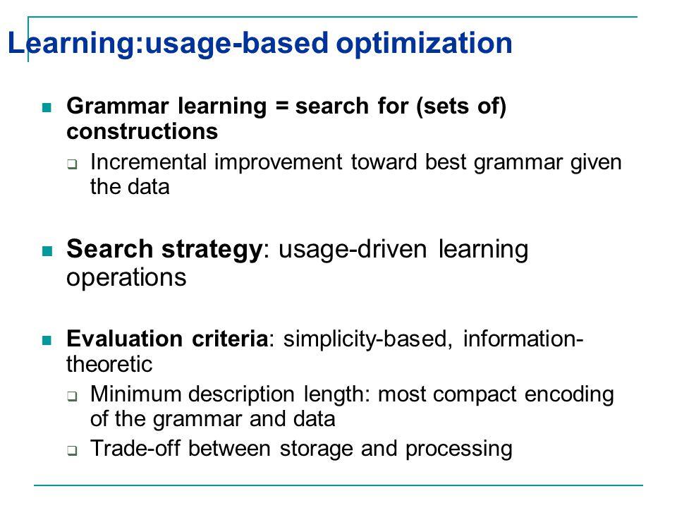 Learning:usage-based optimization