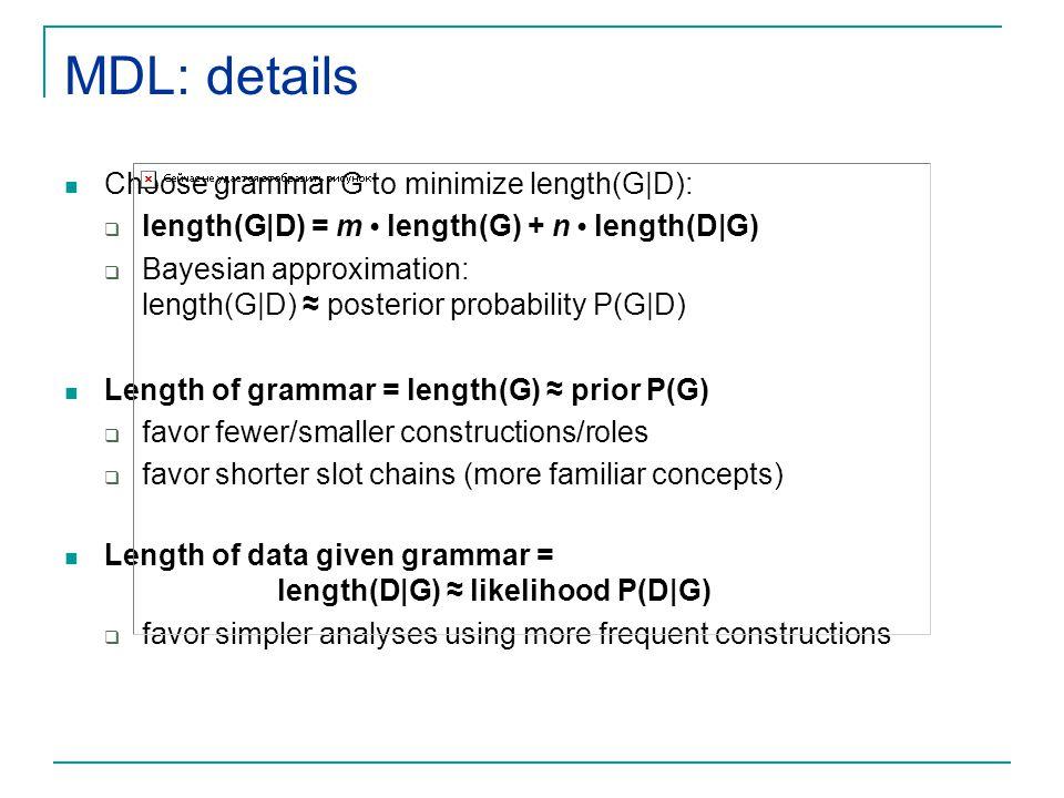 MDL: details Choose grammar G to minimize length(G|D):
