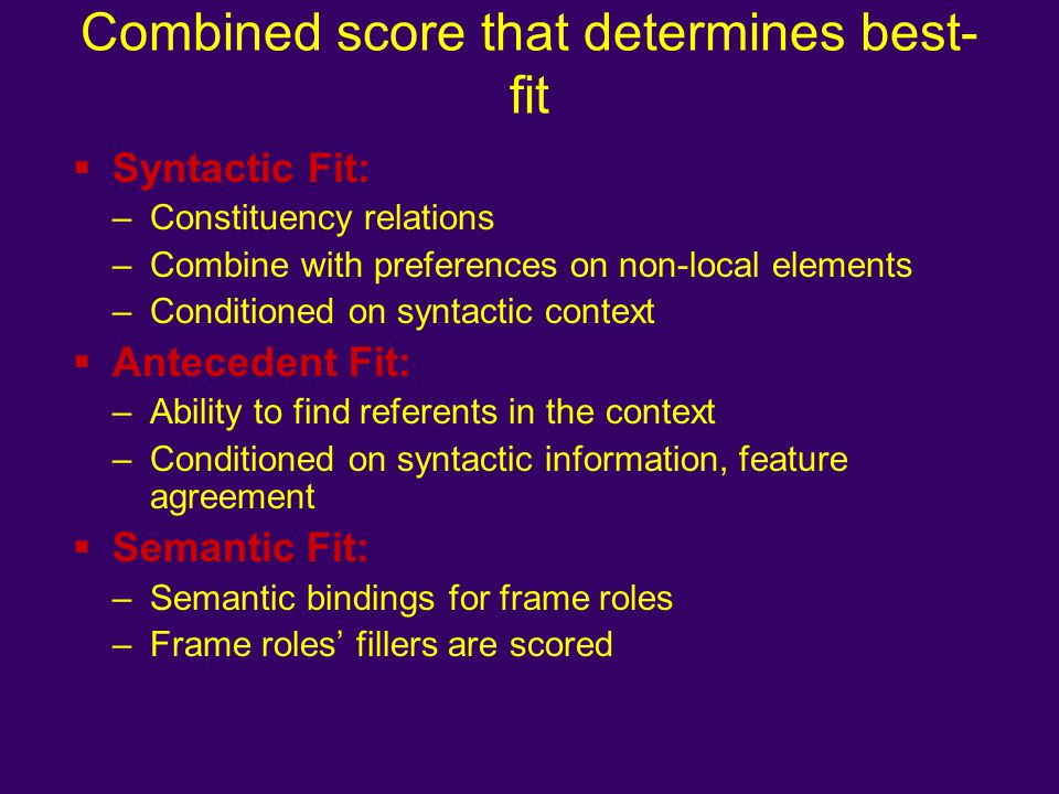 Combined score that determines best-fit