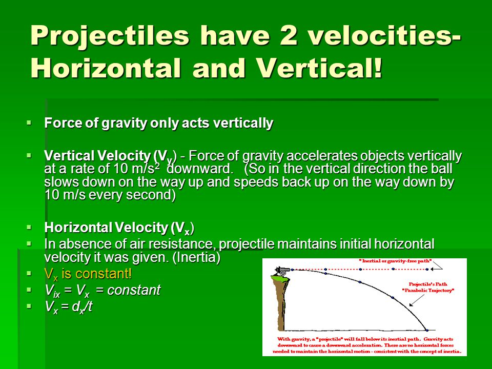 Projectiles have 2 velocities- Horizontal and Vertical!