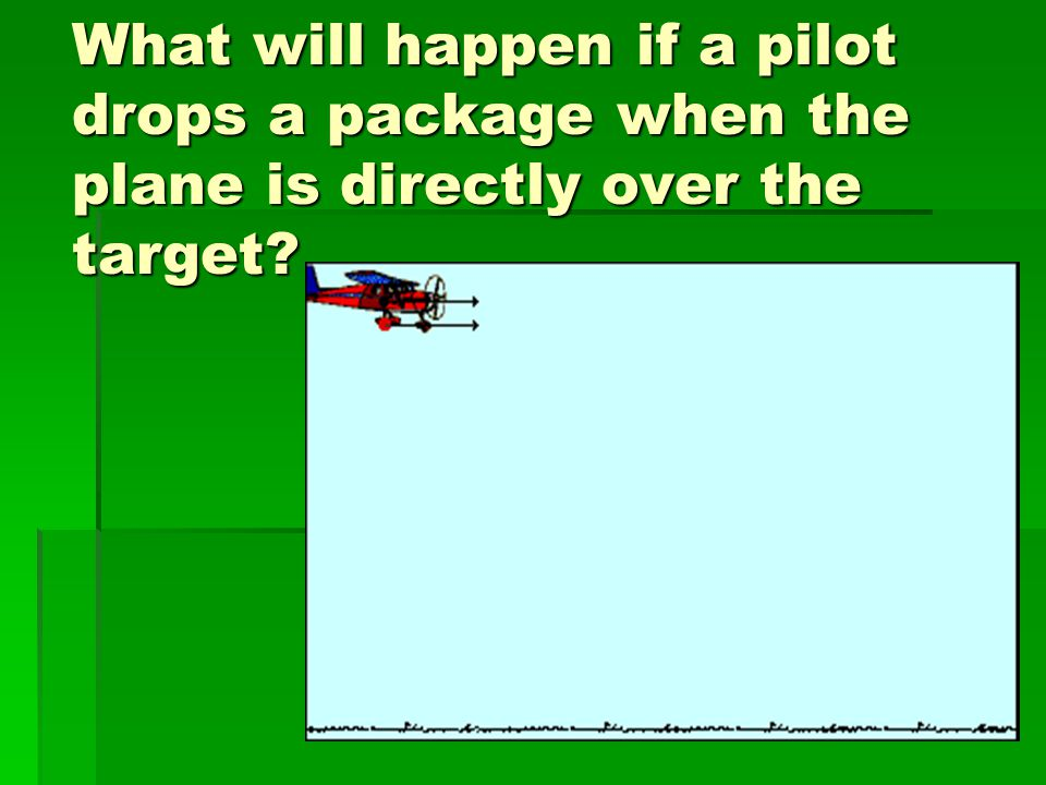 What will happen if a pilot drops a package when the plane is directly over the target