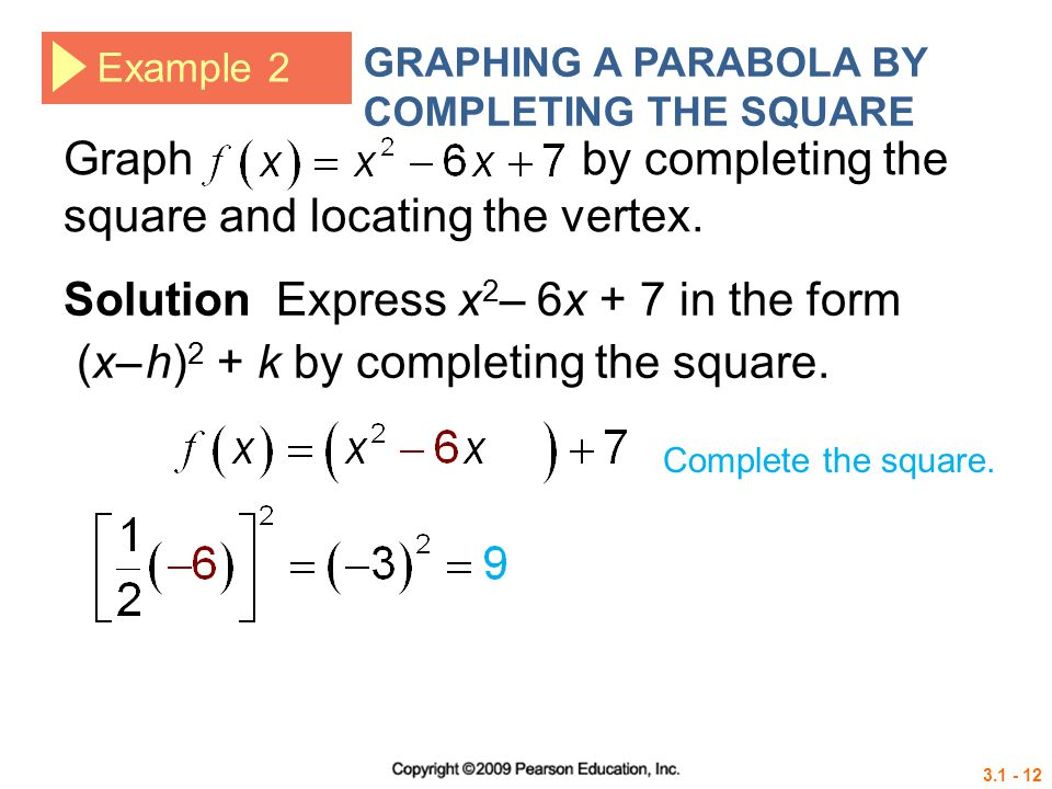 Graph by completing the square and locating the vertex.