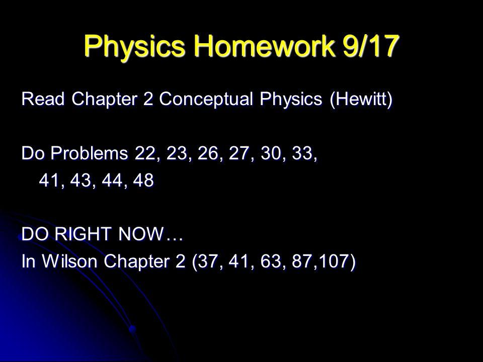 Physics Homework 9/17 Read Chapter 2 Conceptual Physics (Hewitt)