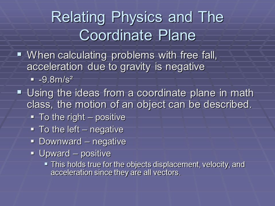 Relating Physics and The Coordinate Plane